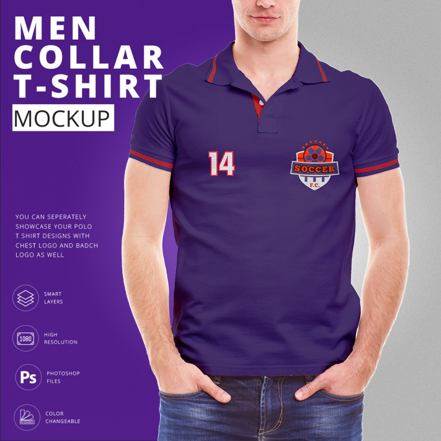 men collar t shirt mock up template