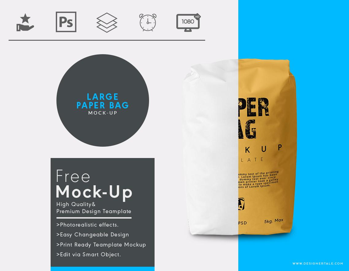Paper sack bag mockup