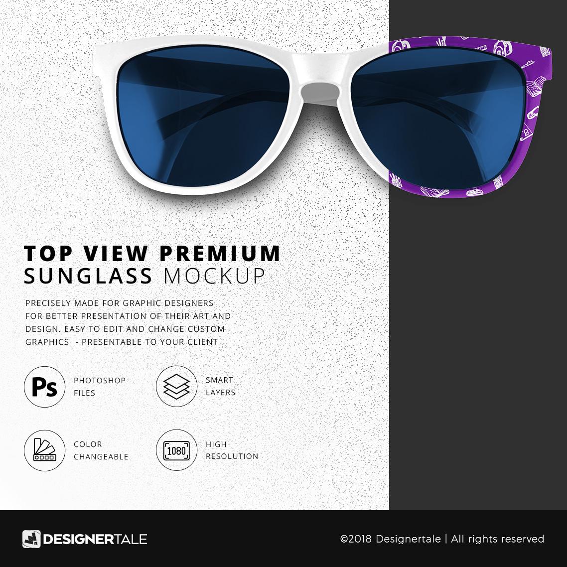 Top view beach sun glass mock up