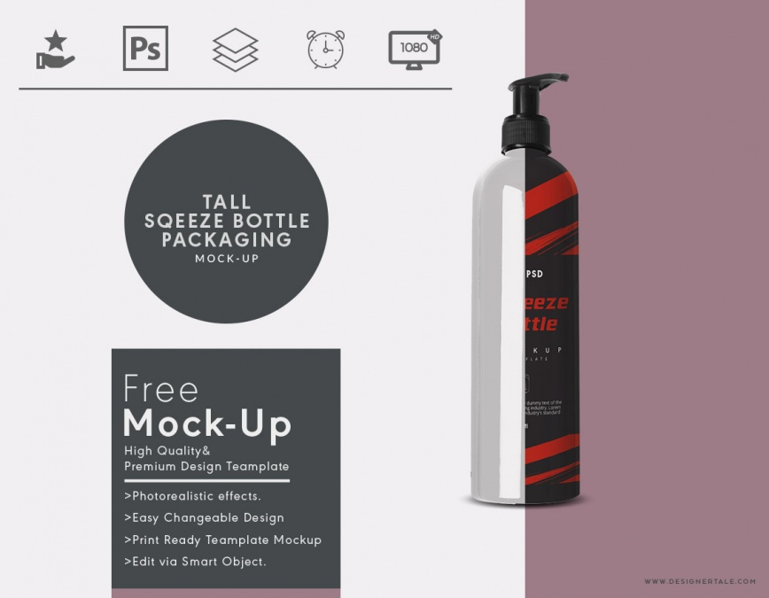 tall cosmetic squeeze bottle mock up