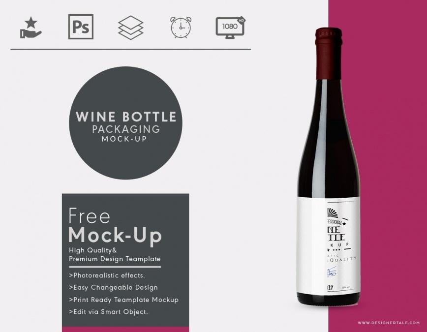 wine bottle packaging mock up