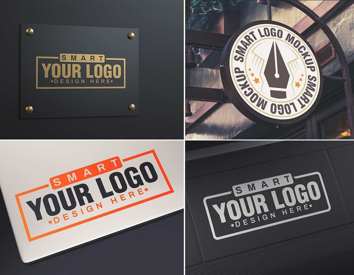 collection of 4 free logo mockups