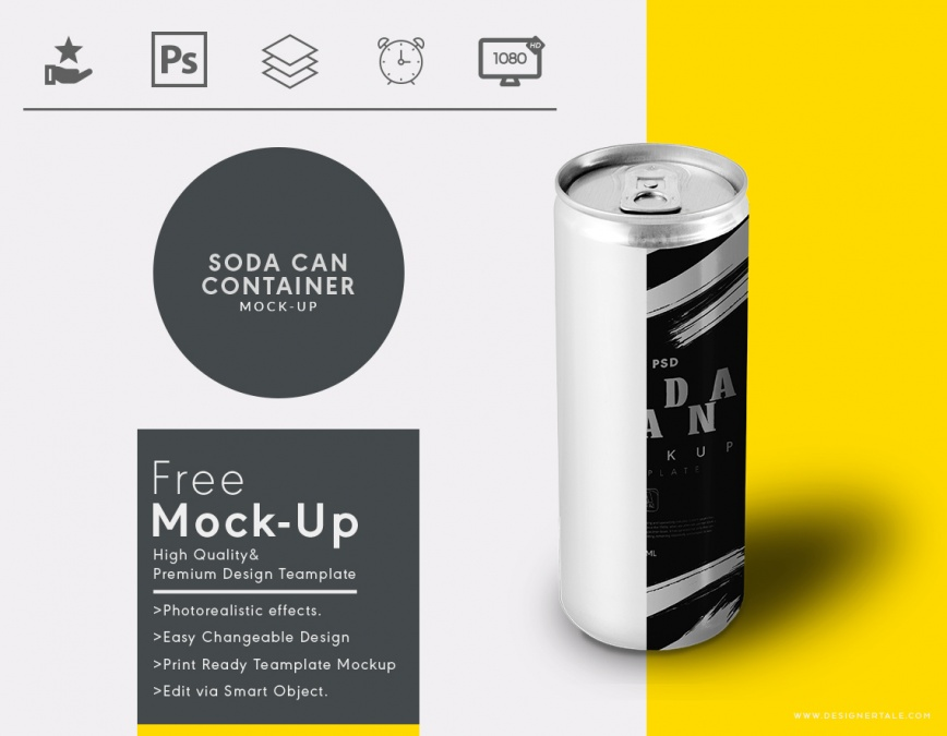 soda tin container mockup