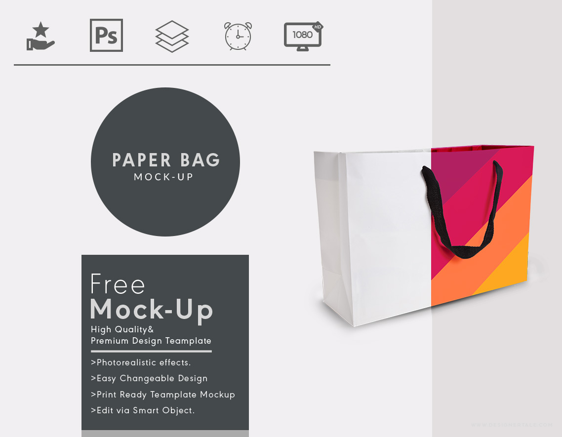 paper bag mock up psd template