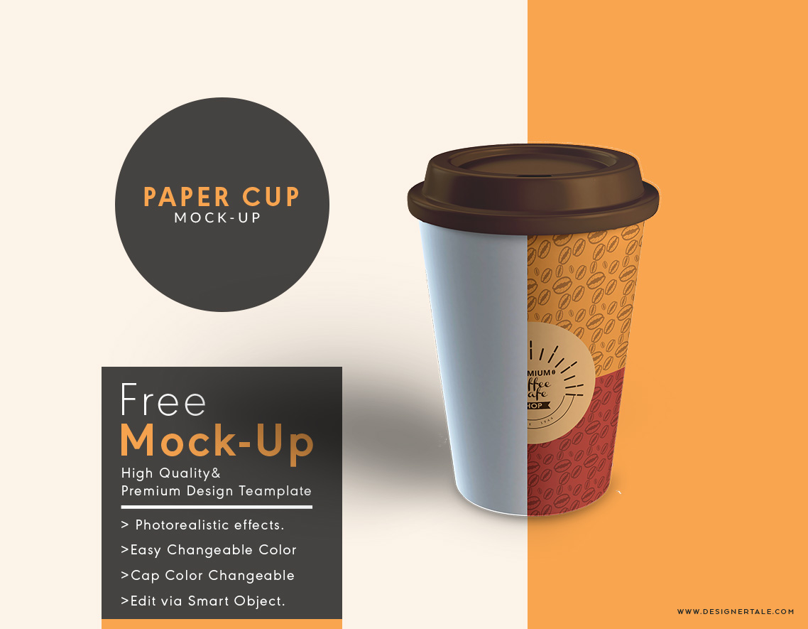 Paper cup mock up psd template