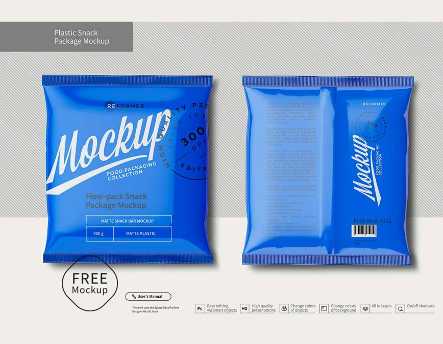 Snacks pouch packaging mockup