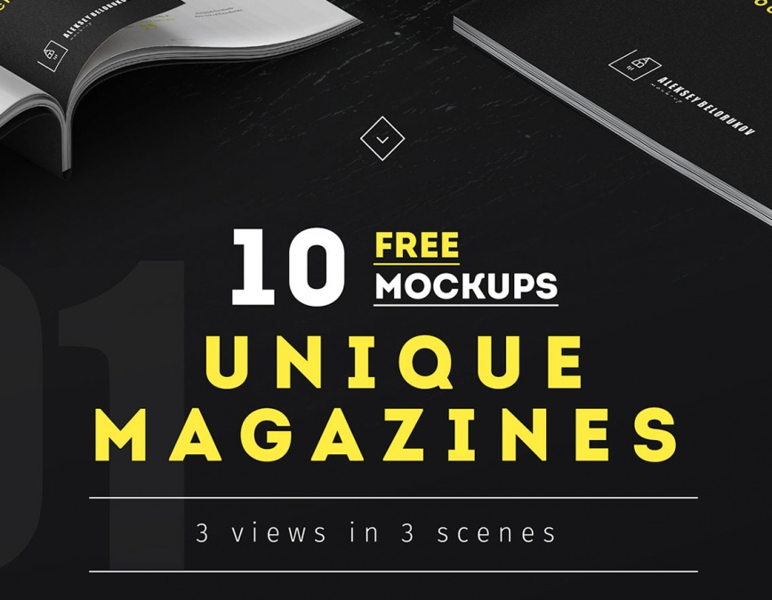 collection of free magazines mockup set