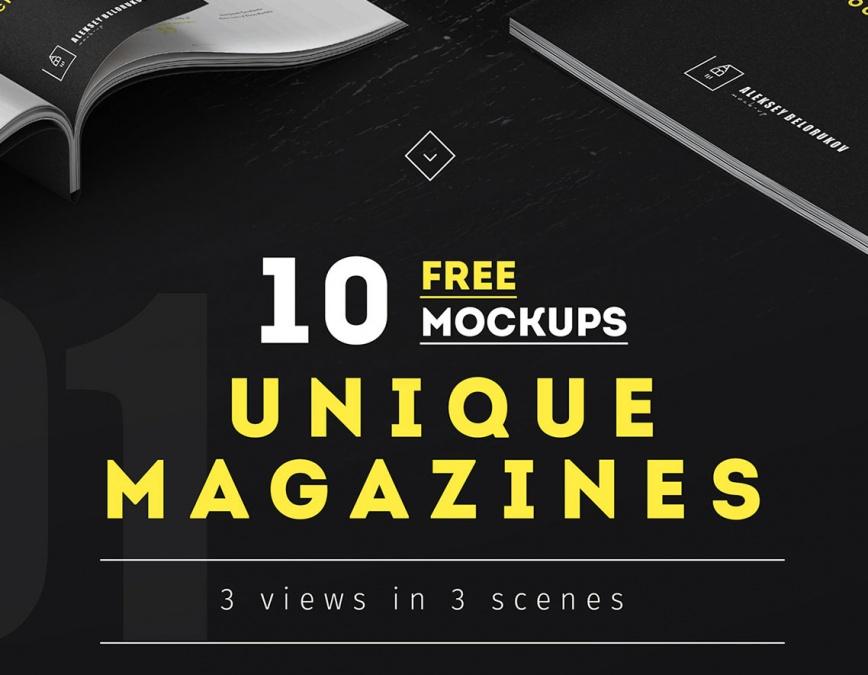 collection of free magazines mockup set