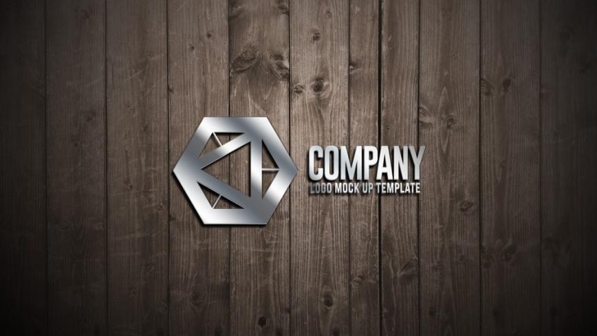 wooden wall logo presentation mockup