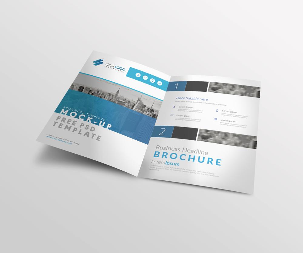 bi fold a4 brochure mockup