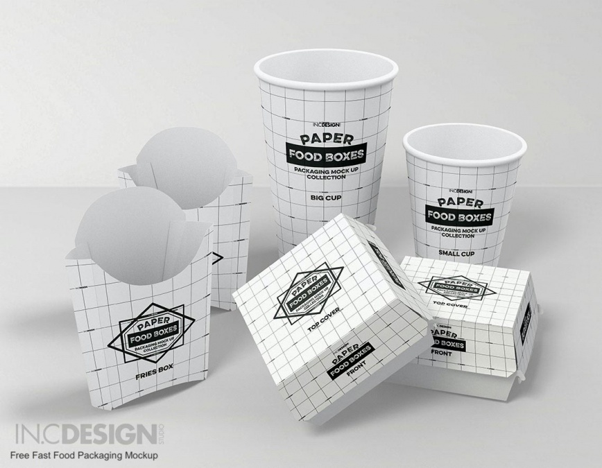 Paper food boxes packaging mockup collection