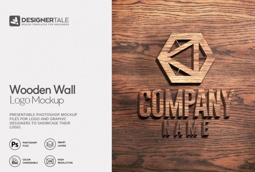wooden wall logo mockup