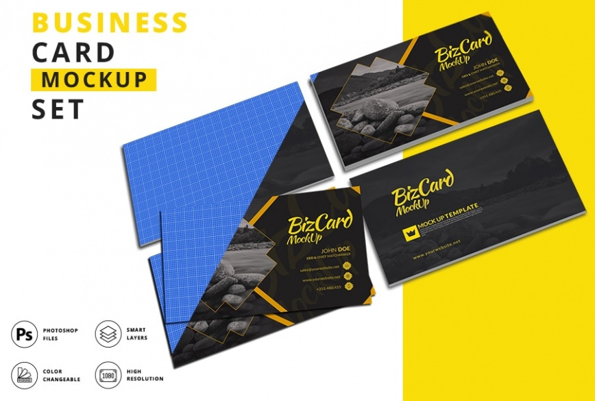 Unique business card mockup bundle a set of three image preview 1