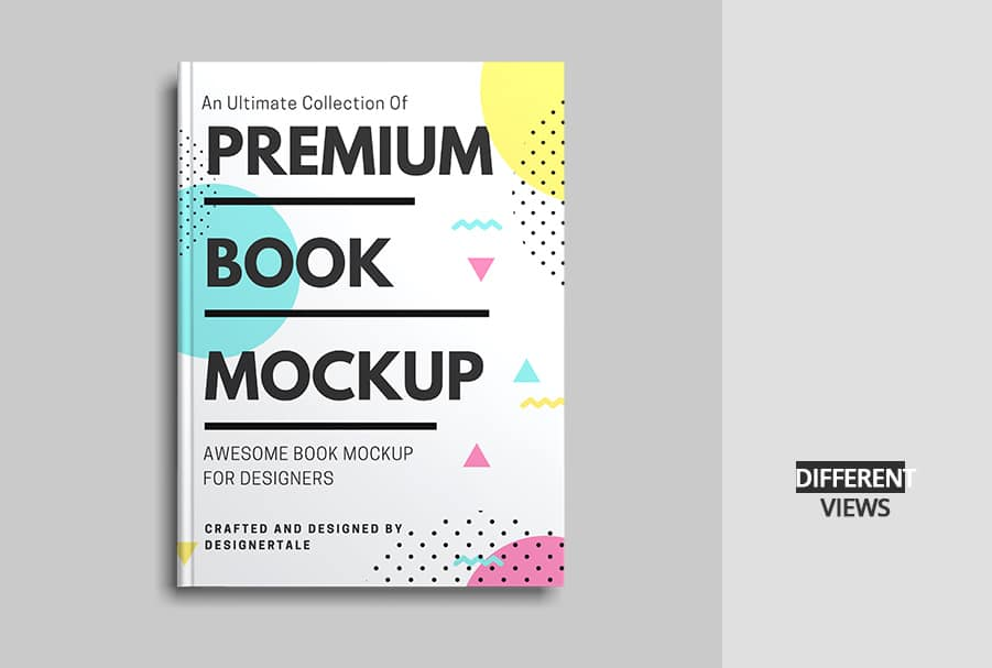 paper book mock up top view front cover showcasing