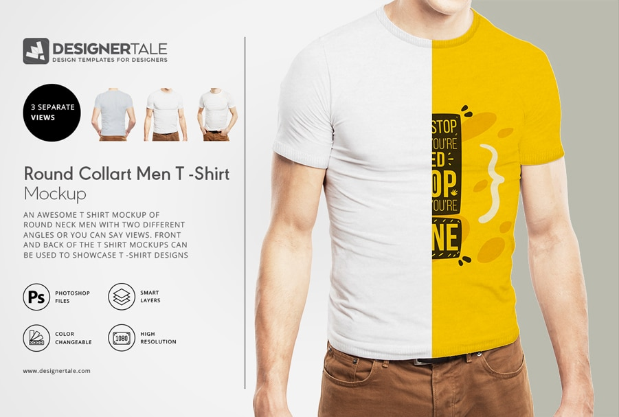 Rounded collar t shirt mockup psd