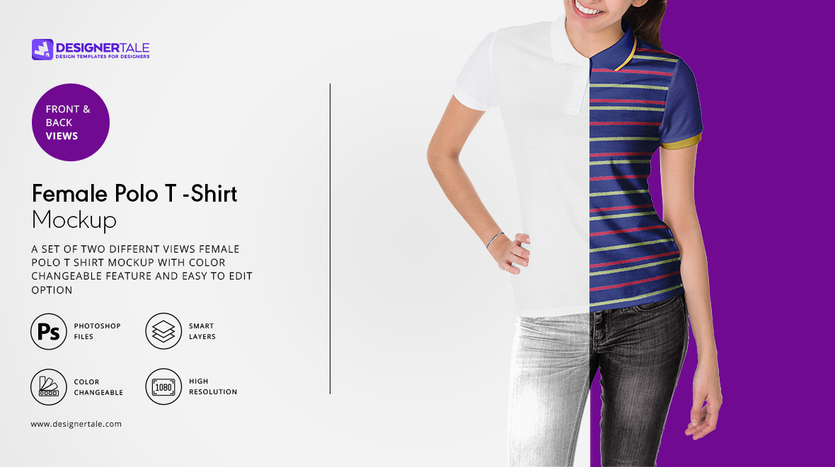 female polo t shirt mockup
