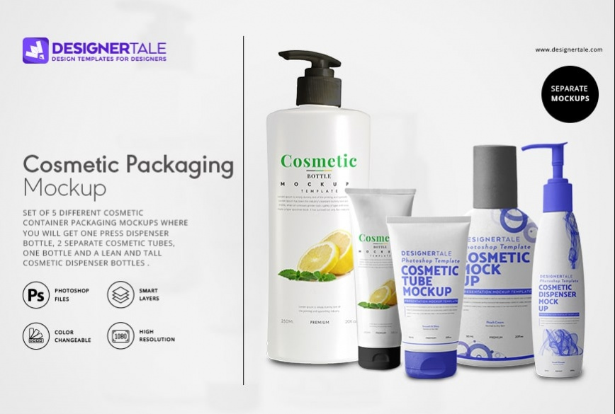 cosmetic packaging labels mockup