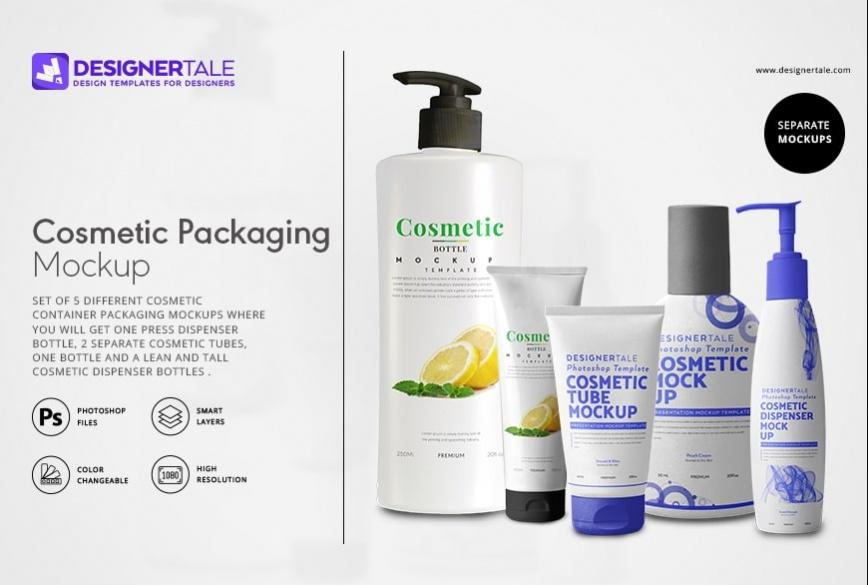 cosmetic packaging labels mockup