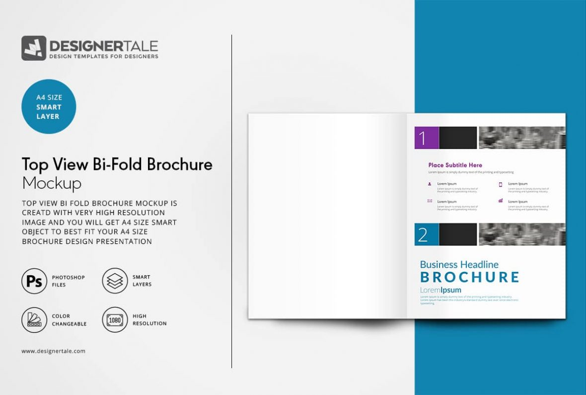 top view bi fold brochure mock up