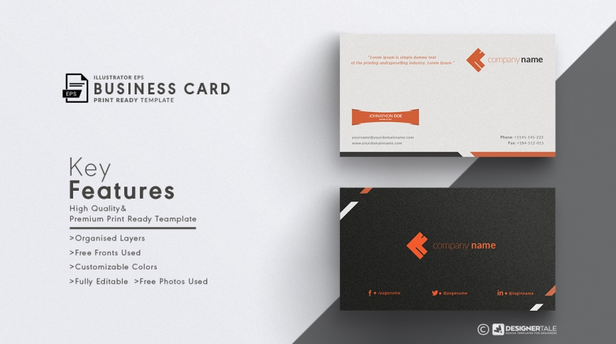 orange corporate business card free vector