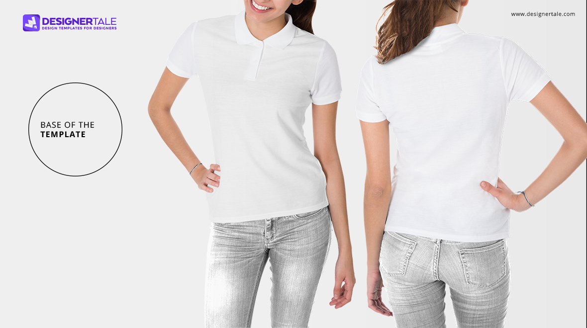 female polo t shirt mockup