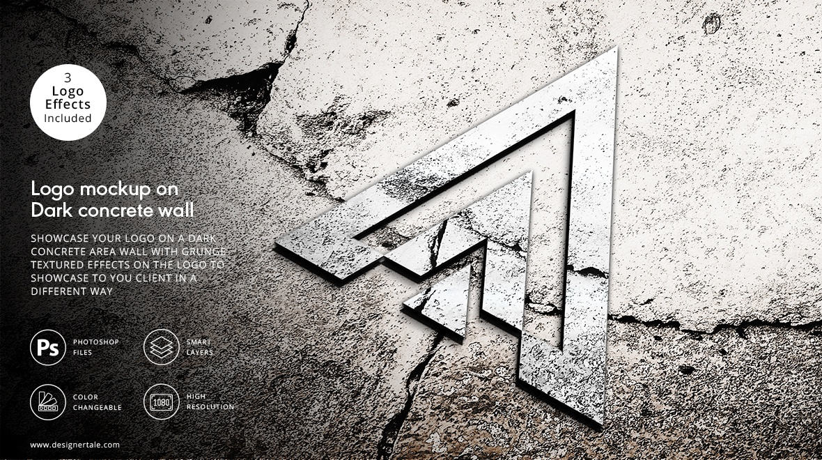3d logo presentation mockup on the dark concrete area
