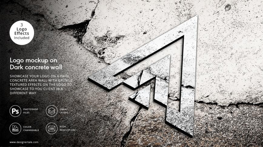 3d logo presentation mockup on the dark concrete area