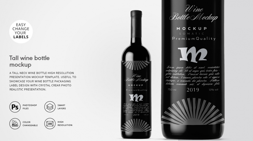 tall neck wine bottle mockup