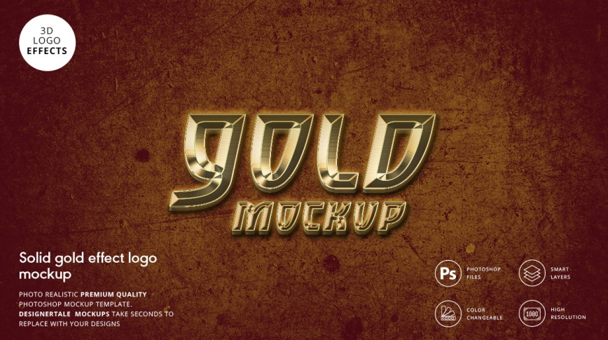solid gold effect logo mockup