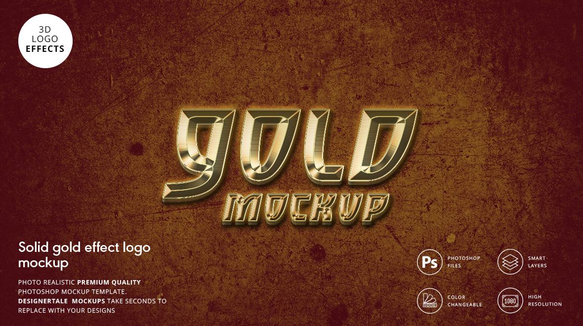 solid gold effect logo mockup