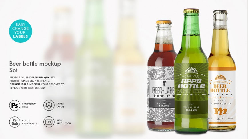 Beer bottle packaging label mockup