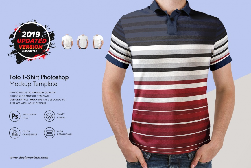 polo t-shirt PSD mockup template front, back and side view presentation