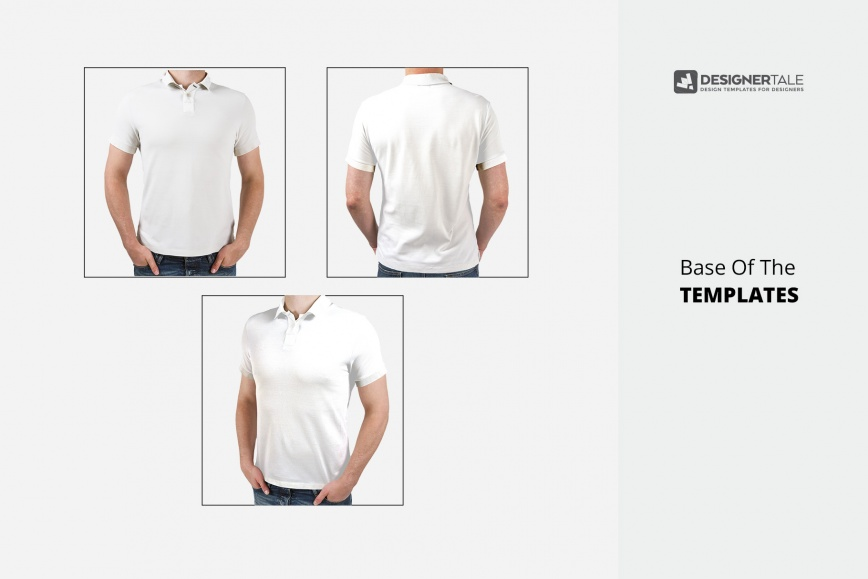 e1cb85e55 polo t-shirt PSD mockup template front, back and side view presentation.  prev