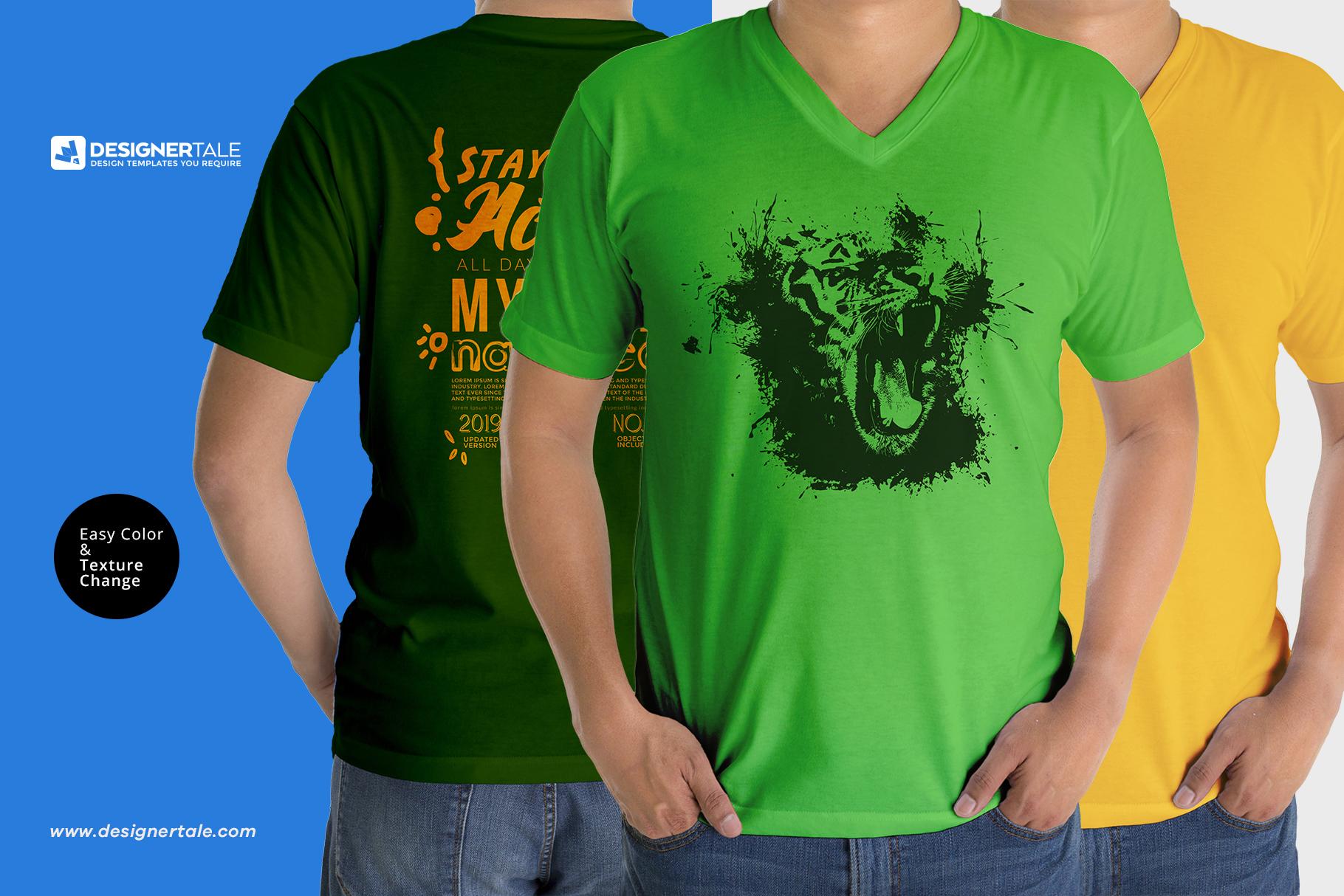Men v collar t-shirt mock up PSD template