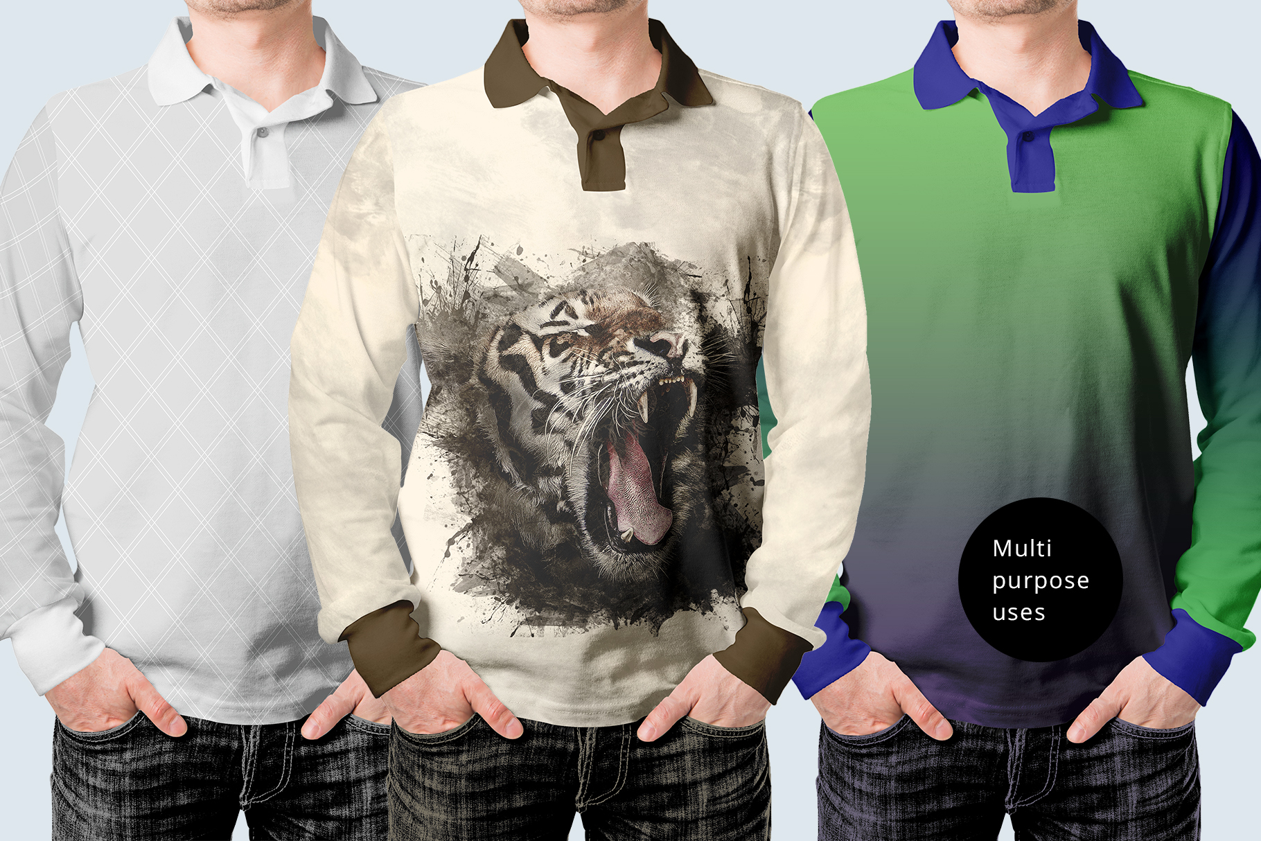 long sleeve men polo shirt mock up psd with color customization