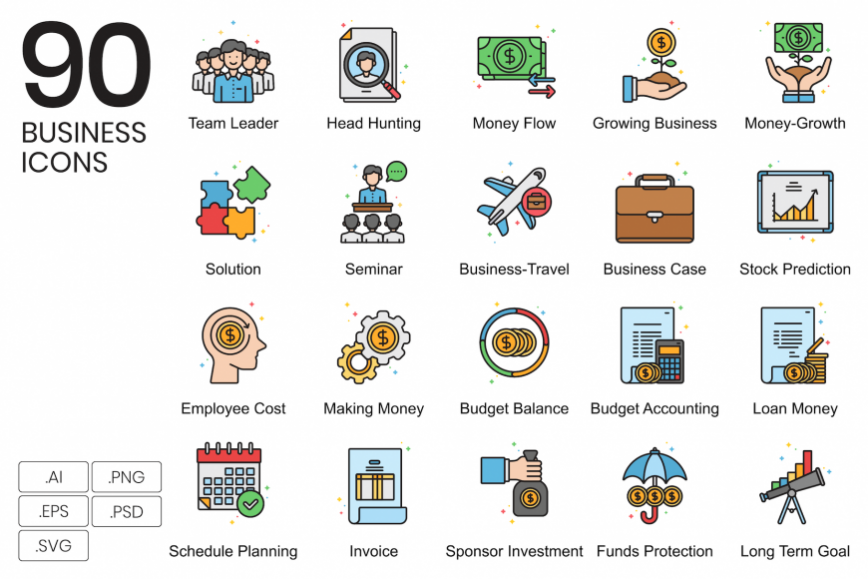 90 business icon set
