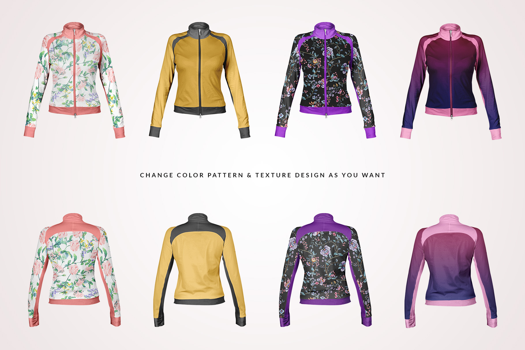 female fitness jacket mockup
