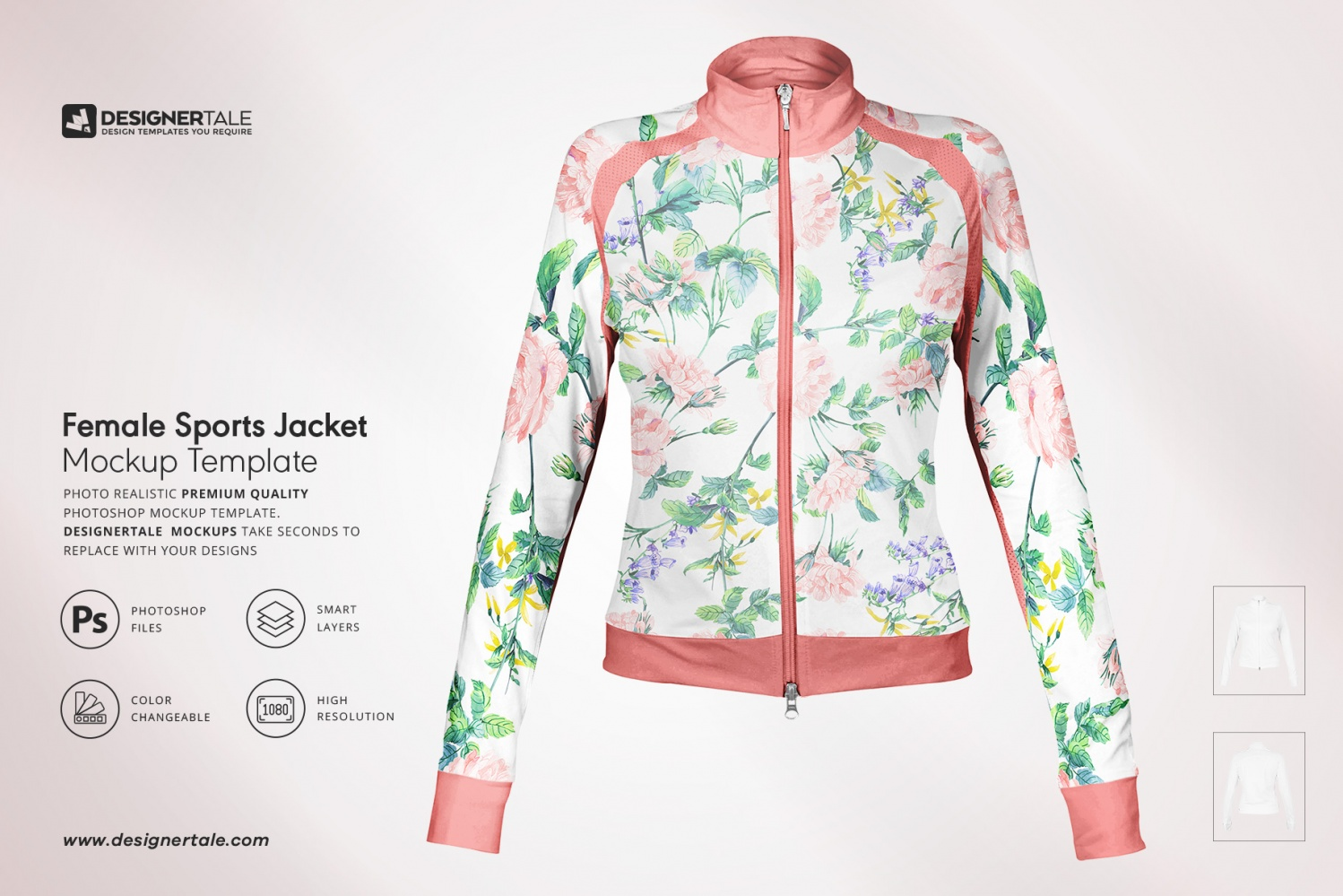 female fitness jacket mockup