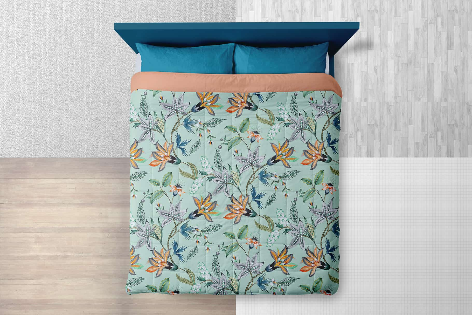 queen size bed linen mockup