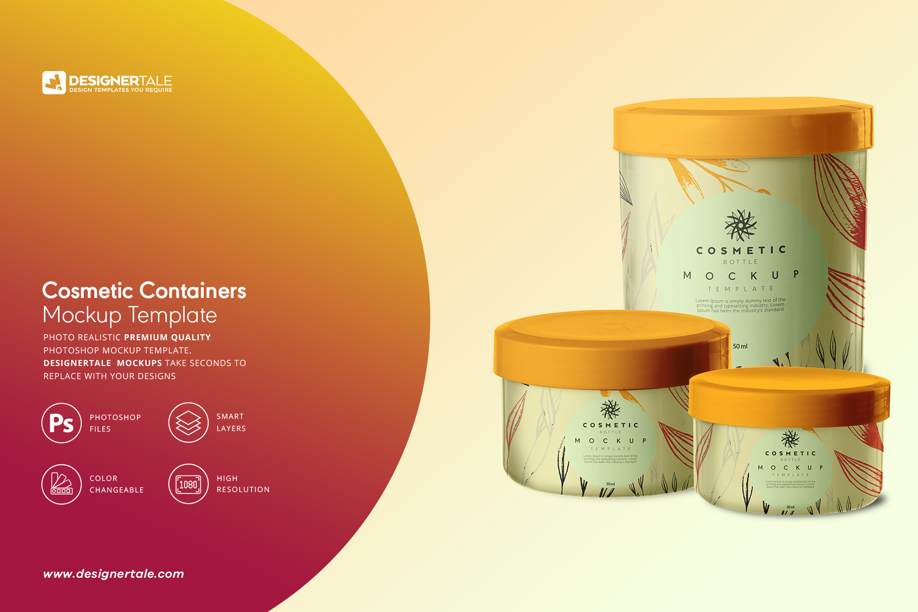 3 cosmetic containers mockup