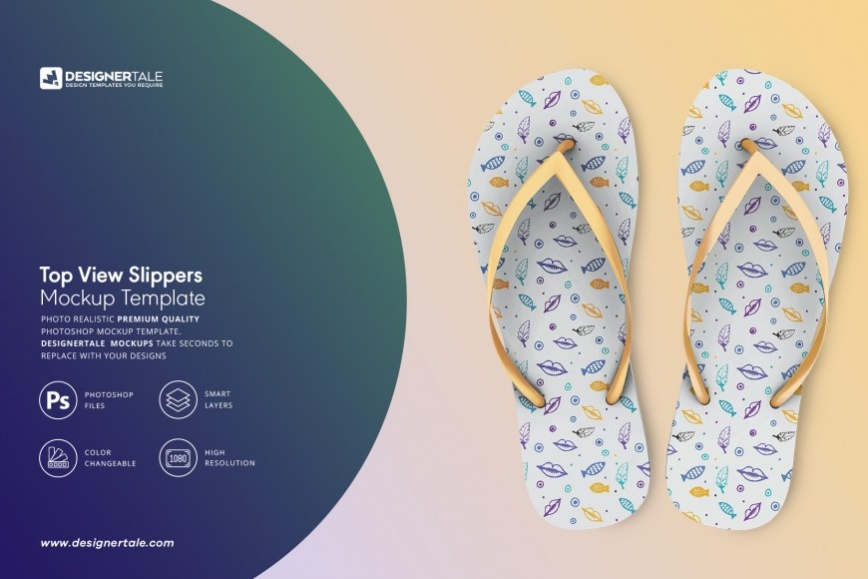 top view slippers mockup
