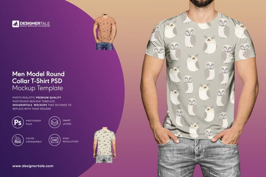 men model round collar t-shirt mockup with men model and changeable texture