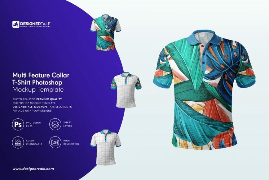 multi feature collar t shirt mockup Photoshop tempalte