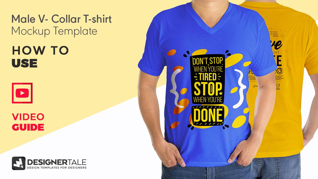 Men v collar t shirt mockup youtube video guide thumbnail   Designertale