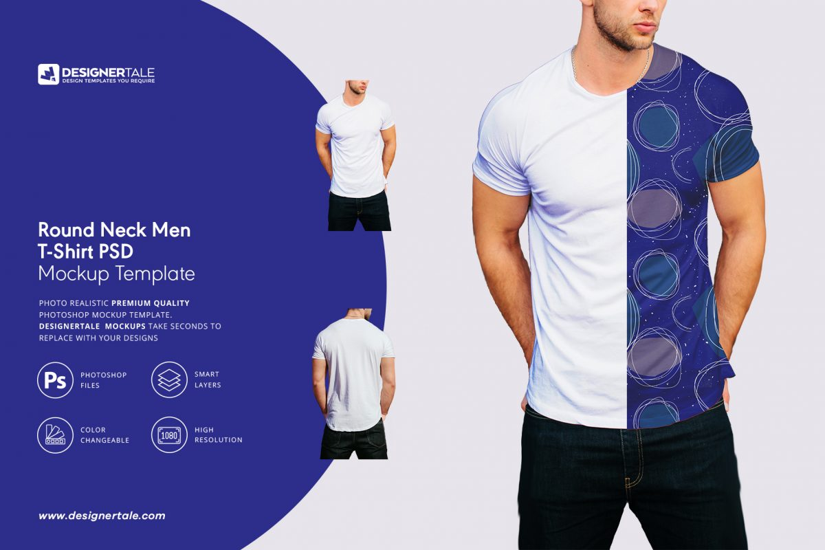 round neck men t shirt mockup Photoshop template with two different views PSD
