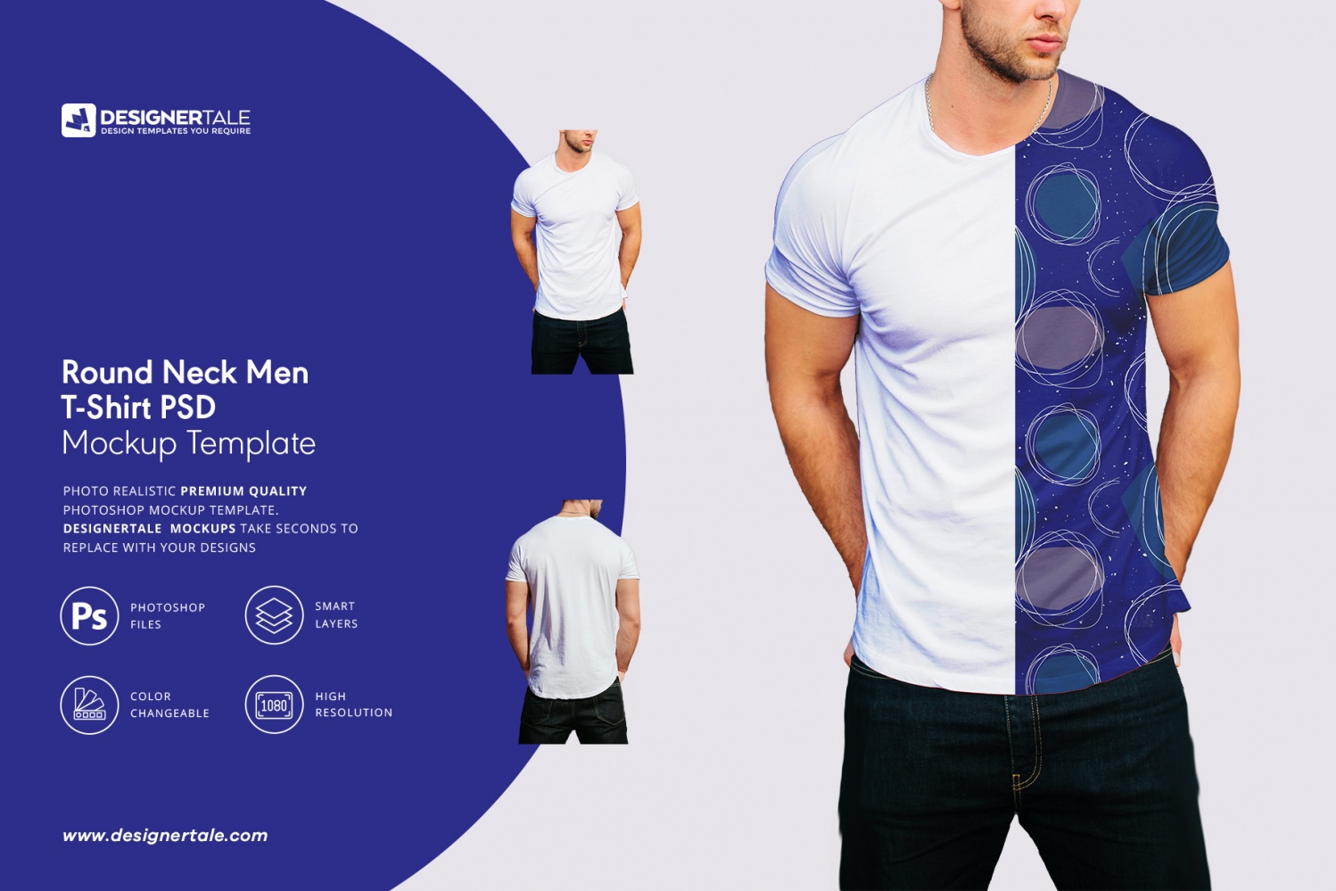 e6fa9c67 round neck men t shirt mockup Photoshop template with two different views  PSD