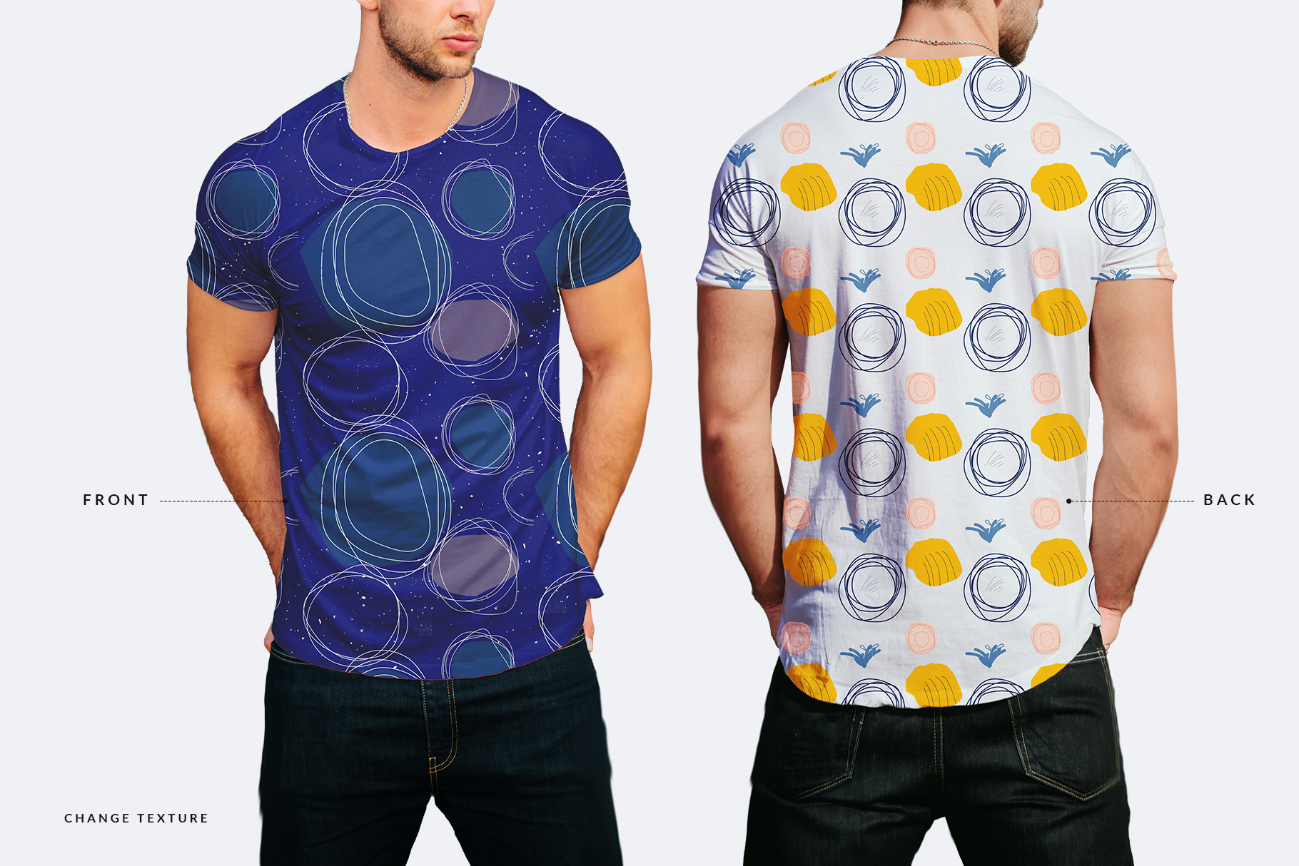 front and back view of round neck men t shirt mockup