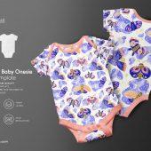 Half Sleeve Baby Onesie Mockup