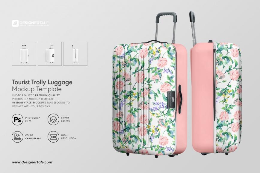 tourist trolley luggage mockup