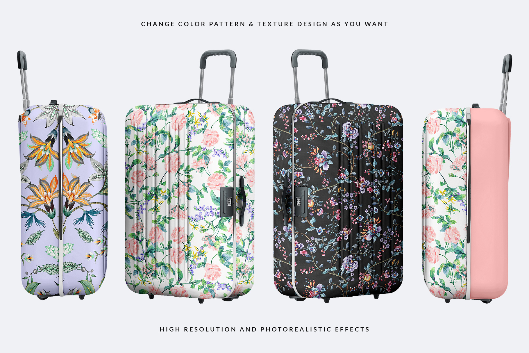 different variations of the tourist trolley luggage mockup